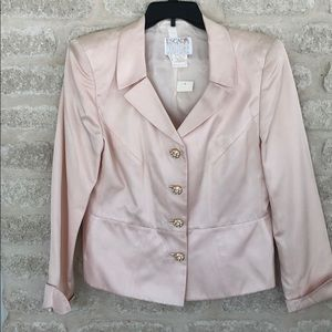 Escada Couture suit blush pink silk with skirt 44